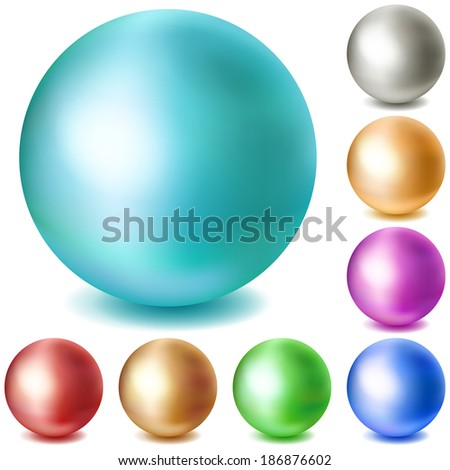 Set of  multicolored matte spheres with shadows on white background. Raster version. - stock photo