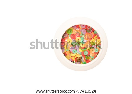 Set of multicolored sequins. Closeup. - stock photo