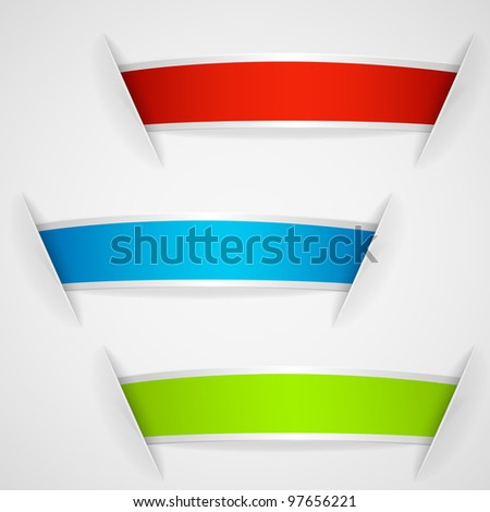 Set of multicolored sticker labels. Raster copy of vector illustration - stock photo