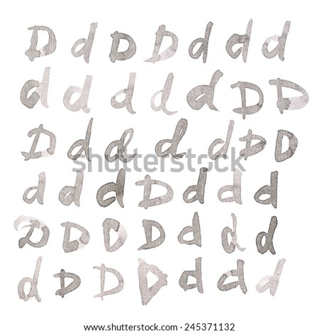 Set of multiple hand drawn with black watercolor ink D letters isolated over the white background - stock photo