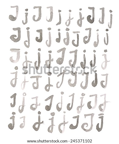Set of multiple hand drawn with black watercolor ink J letters isolated over the white background - stock photo