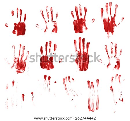 Set of multiple hand made palm prints and finger smears of the oil paint, isolated over the white background - stock photo