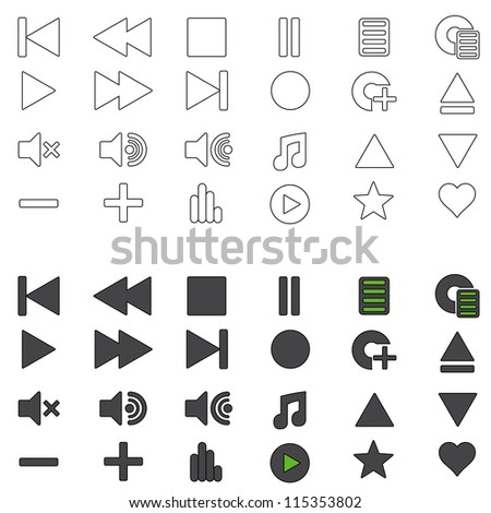 Set of Music Media Icons (Both Standard and Outline)