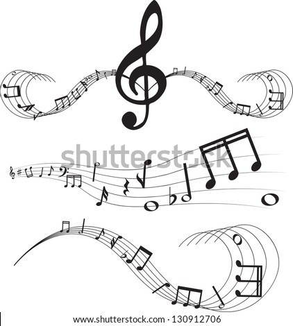 Set of music notes on staves - stock photo