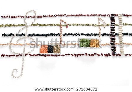 Set of musical symbols formed of beans - stock photo