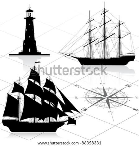 Set of nautical design elements. Raster version of the illustration. - stock photo