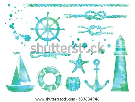 Set of nautical elements. Blue  marine background. Watercolor sea elements. helm, anchor, rope, knot, shell, starfish, lighthouse, life buoy, boat, ship.