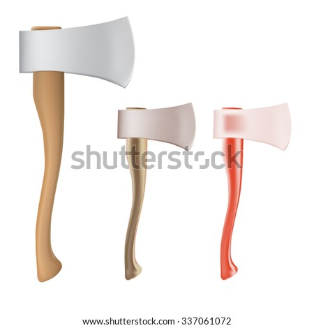 set of New ax with a shining blade and a wooden handle - stock photo