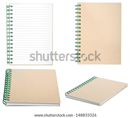 set of new empty notebook