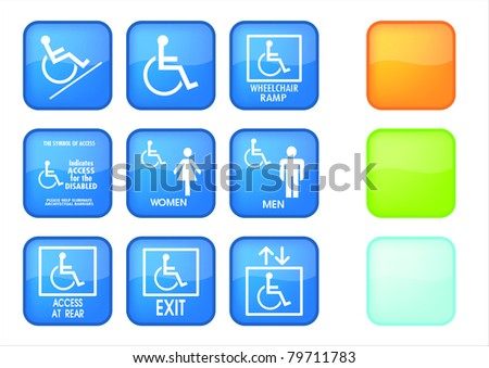 Set of nine blue square handicap signs with wheelchair