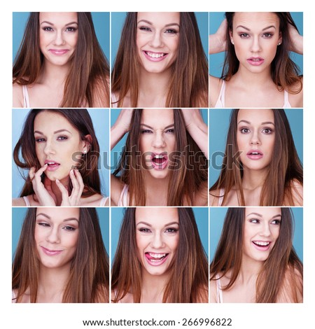 Set of nine different expressions and emotions on a pretty young woman or girl with happiness, laughter, sexy , seductive, rage, shock and flirting - stock photo