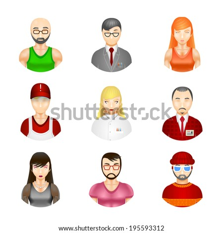 Set of nine different people avatars depicting a diverse community of professionals  workmen  male  female  hipster  elderly balding  beard and moustache as a cross section of society - stock photo