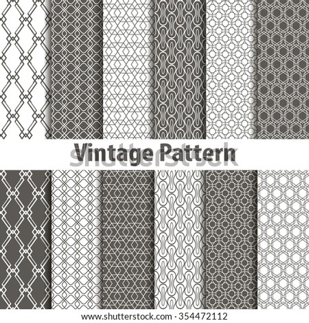 Set of nine seamless pattern in retro style art