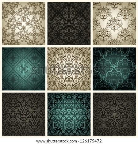 Set of nine vintage seamless patterns - stock photo