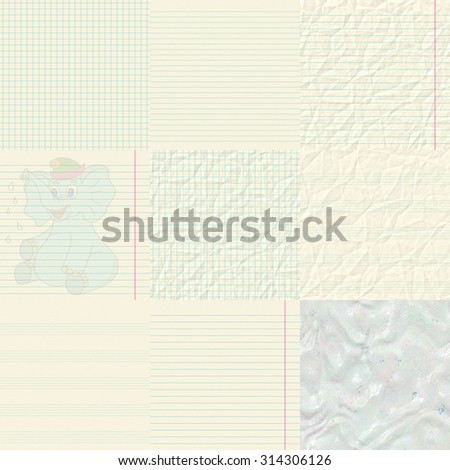 Set of notepaper generated textures - stock photo