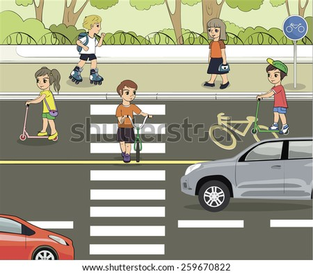 Set of objects to illustrate traffic rules with children - stock photo