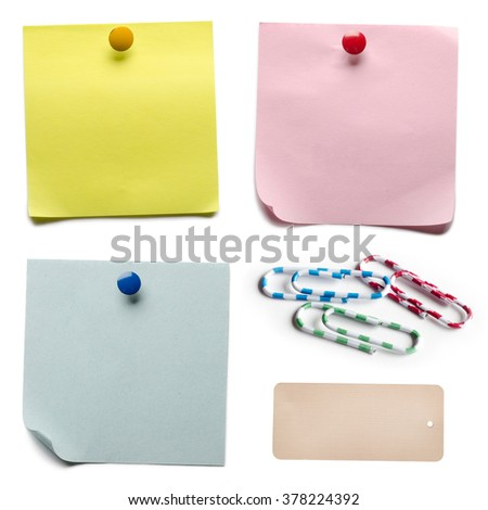 Set of office accessories isolated on a white background - stock photo