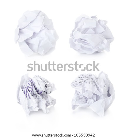 Set of  Office Crumpled Paper Balls / blank and used up / isolated - stock photo