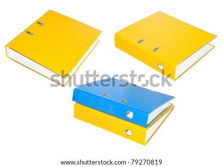 Set of office folders yellow and blue. Isolated. - stock photo
