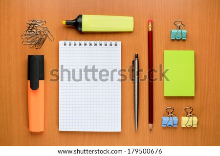 Set of office supplies on table - stock photo