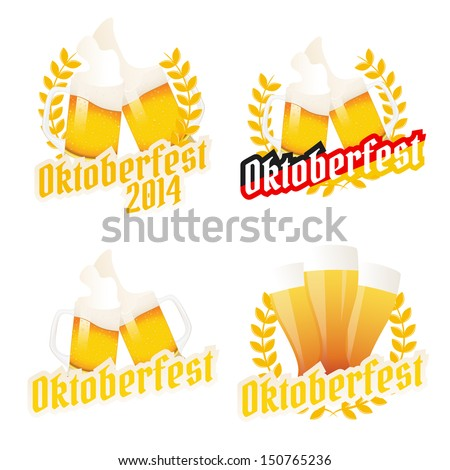 Set of Oktoberfest labels, badges and menu elements - stock photo