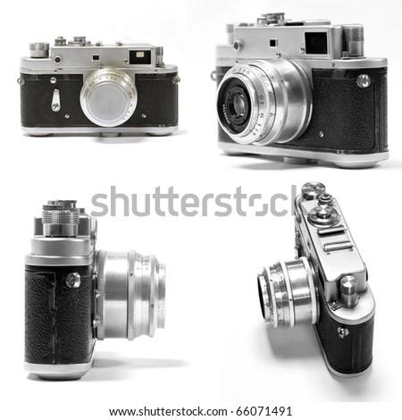 set of old analog photo camera - stock photo