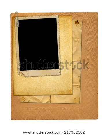 Set of old archival papers and vintage postcard isolated on white background - stock photo