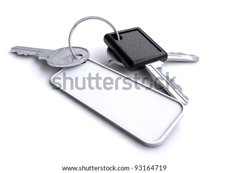 Set of old car keys used to start the engine and unlock the doors on a vehicle or automobile with a blank keyring lay on a isolated white background. - stock photo