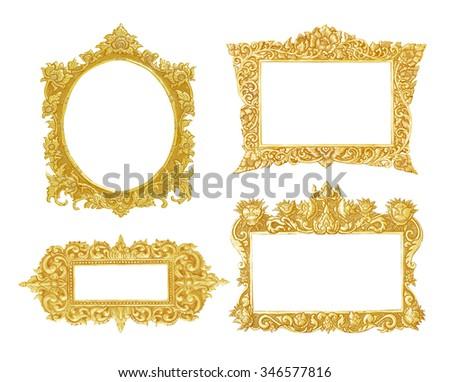 set of old decorative gold  frame - handmade, engraved - isolated on white background - stock photo