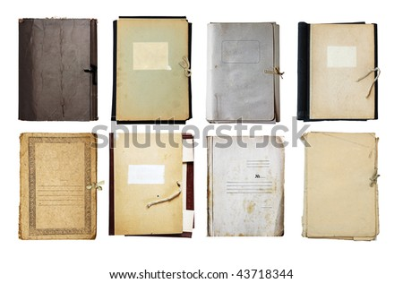 set of old folder isolated on white background with clipping path - stock photo