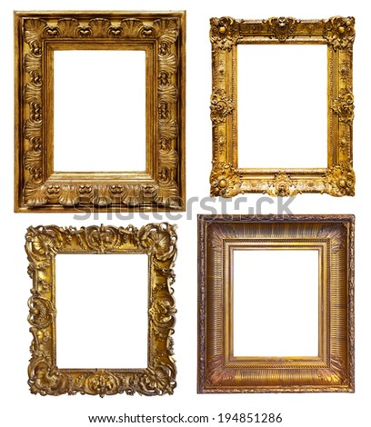 Set of old  gold frames. Isolated over white background, may be used for photo