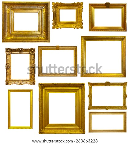 Set Old Gold Frames Isolated Over Stock Photo 263663228 - Shutterstock