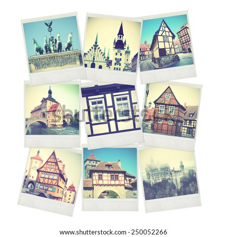 Set of old instant photos of Germany. Instagram style filtred images - stock photo