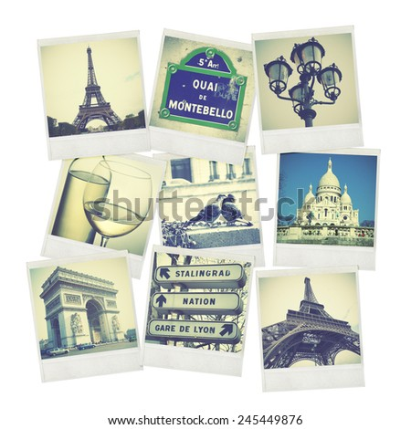 Set of old instant photos of Paris - stock photo