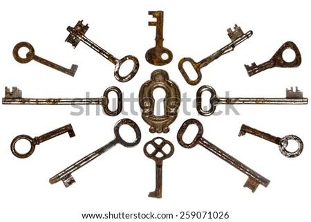 Set of old keys, isolated on white background - stock photo