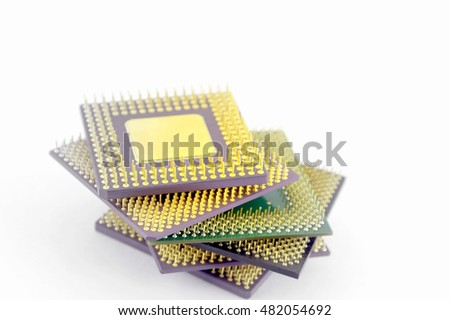 Set of old microprocessors over white. Concept technological. Shallow DOF.