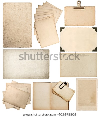 Set of old paper sheets. Vintage photo album and book pages, cards, pieces isolated on white background