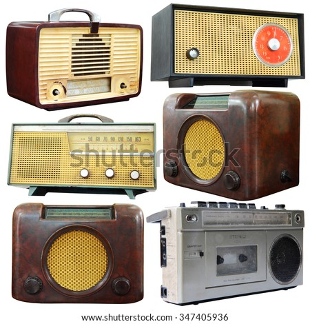 Set of old radio isolated over white background, clipping path. - stock photo