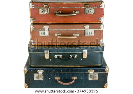 Set of old suitcases. Brown and black retro suitcase. Vintage baggage. Vintage travel bags. - stock photo