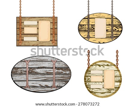 Set of Old wooden board with rusty chain. Illustration - stock photo
