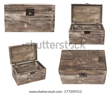 set of old wooden chests are isolated on white - stock photo