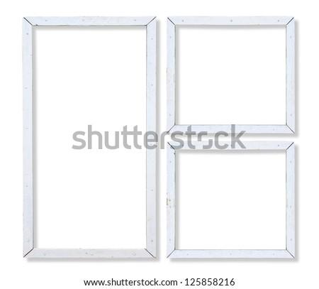 set of old wooden white frames - stock photo