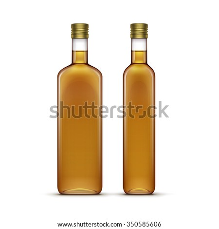 Set of Olive or Sunflower Oil Glass Bottles Isolated on White Background