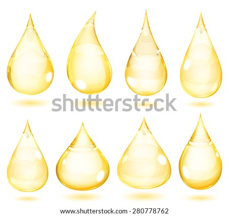 Set of opaque drops in yellow colors - stock photo