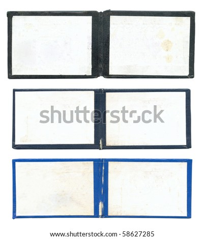 Set of open certificates isolated over white background - stock photo