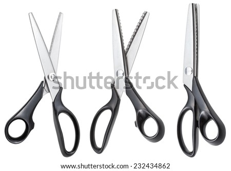 set of open modern pinking scissors with black handles isolated on white background