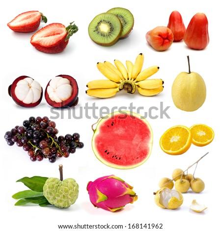 Set of organic fruit, Fruit isolated - stock photo