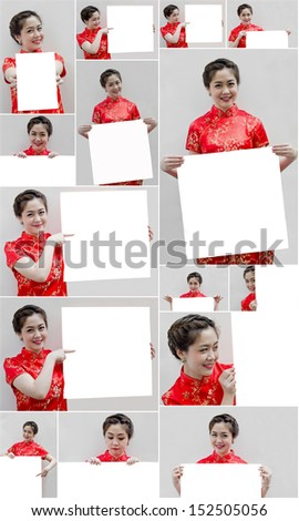 set of Oriental girl wishing you a happy chinese new year, with copy space.