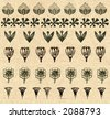 Set of original  design elements for frame design on vintage paper - stock photo