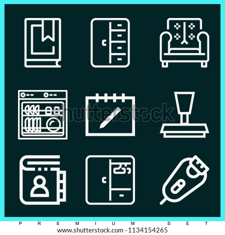 Set Of 9 Other Outline Icons Such As Razor Dishwasher Closet Sofa